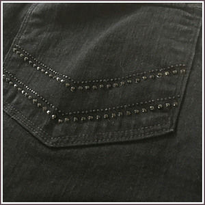 NYDJ High Rise Straight Black Rhinestone Stretch 6